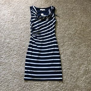 NWT size XS LOFT navy/white stripe dress